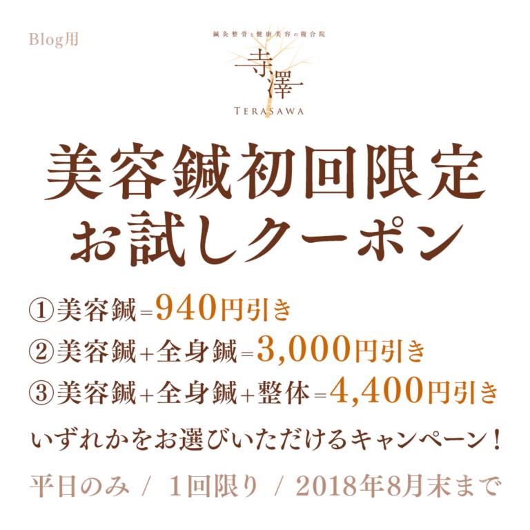 寺澤の美容鍼・初回限定選べるお試しクーポン